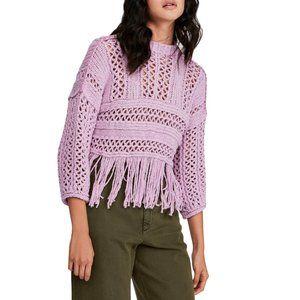 Free People Lilac Higher Love Crochet Sweater